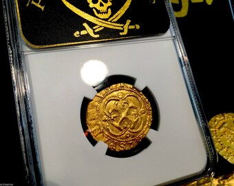 "SPAIN 1 ESCUDO 1516 1556 ""seville"" gold cob doubloon ngc 61 ms treasure coin!"