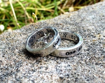 LIMITED TIME SALE Ring Set - Custom Solid Sterling Silver Thick Hand Stamped Rings Couples Rings His and Hers Ring Set Choice of Font Your M