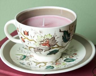 Vintage Botanical Teacup Soy Candle - Rose Scented