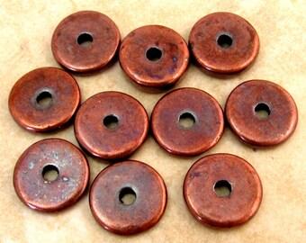 Greek Mykonos Ceramic Round Washer Beads 13 mm Bronze 10-Pieces M99