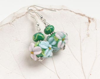 Pink green & blue floral lampwork earrings, glass flower earrings, floral earrings, nature earrings, pink green earrings, blossom earrings