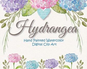 Watercolor Hydrangea flowers clipart, Spring flower clipart, Purple, Teal Floral Clipart,  Wedding Clip Art, wedding invitation