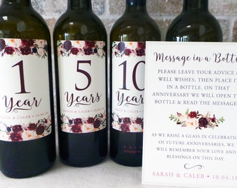Guest Book Anniversary Wine Labels 4+ labels, 1 instructional sign..choose your colors and numbers....Vintage Burgundy Roses