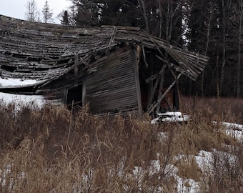 Dilapidated Old House Wood Winter Montana Landscape 10 x 8 Fine Art Photography Archival Print