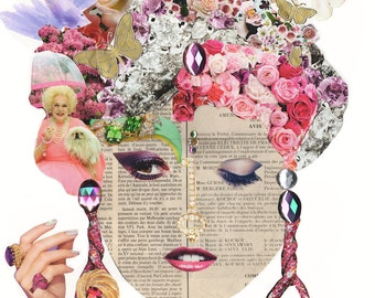 GARDEN PARTY LADY / Collage Print /  Art / Woman /  (sizes a4 - a3)