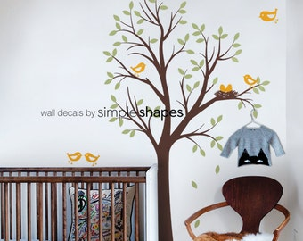 Baby Nursery Wall Decal: Tree With Birds And Nest Decal   Original Design  By Simple