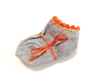 Infant Girl Socks With Pumpkin Orange Crocheted Shell Stitch-Size 0-6 Months