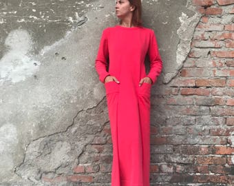 Red Maxi Dress, Red Dress, Abaya Dress, Loose Dress, Plus Size Kaftan, Maxi Dress, Futuristic Clothing, Minimalist Dress, Plus Size Kaftan
