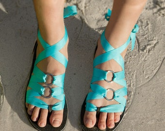 MOHOP KIDS! Flat Thong Girls' Ribbon Sandal by Mohop | Vegan Handmade Shoes with 5 Interchangeable Ribbons
