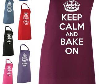 Keep Calm And Bake On Adult Novelty Apron - Baking Apron Funny Gift Baking Cooking Fan