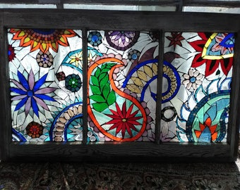 Paisley Rustique (stained glass mosaic in vintage window)