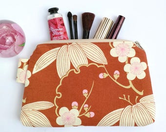 Makeup Bag, Zipper Pouch, Clutch Purse, Sanitary Pads Pouch, Amy Butler, Gift for Her, Bridesmaids Gift Under 30, Cosmetic Bag, Brown Purse
