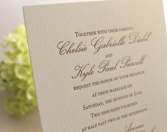 The Azalea Suite - Formal Letterpress Wedding Invitation Sample, Blush, Pink, Gold, White, Calligraphy, Script, Classic, Traditional, Simple