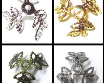 200 pièces 14mm en filigrane 3 pétales Flower Bead Caps - différentes couleurs
