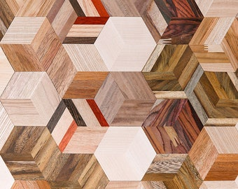 Natural Wood Tile deco Wall Self Adhesive Sticky Thin hexagon 3D solid DIY_5PCS
