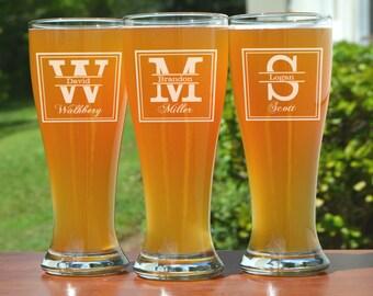 Groomsmen Gift, 6 Personalized Beer Glasses, Custom Engraved Pilsner Glass, Wedding Party Gifts, Gifts for Groomsmen, 16oz Glasses