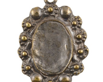 Castings-25x34mm Floral Bezel-Antique Bronze-Quantity 1