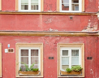 Travel Photography, Poland Photograph, Red Building, Rustic Decor, Wall Art, Print, Window Photograph, Europe, City Street, Decay, Colorful