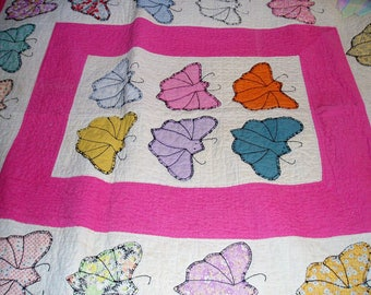 Handsewn Butterfly Quilt, Pink and White