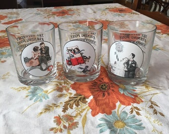 Set of 3 Norman Rockwell Saturday Evening Post tumblers