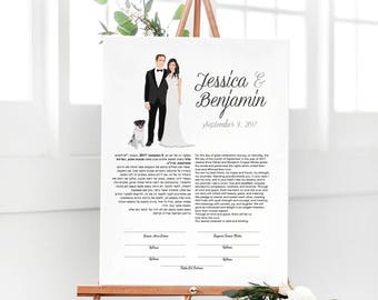 Wedding Ketubah with Couple Portrait, Modern Ketubah, Illustrated Ketubah, The Penny Set by Miss Design Berry
