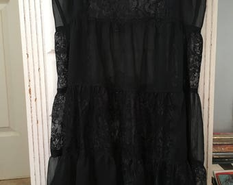 Vintage Free People Black Lace Camisole