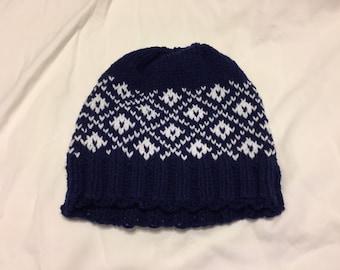 Diamond Pattern Fair Isle Knit Hat