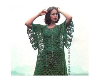 Crochet Dress Pattern Womens 1970s Vintage Loose Chenille Dress Crochet Pattern Boho Caftan Beach Cover PDF Instant Download C70