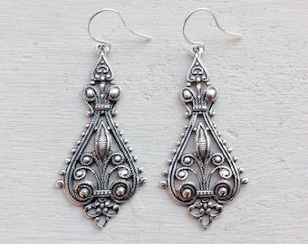 Gifts For Her-Antique Silver Earrings-Bohemian Earrings-Boho Earrings-Chandelier Earrings-Filigree Earrings-Silver Earrings-Gift for Her