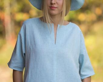 Linen  Dress Knee Length/ Linen Tunic 3/4 Length Sleeves / Linen Tank/ Linen Dress Midi