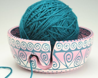 Handmade Ceramic Yarn Bowl for Knitting & Crochet, Knit Happy, Fiber Twine Pottery Yarn Bowl, Purple and Teal Blue Turquoise