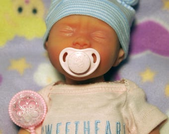 "Painted Born Too Soon Micro Preemie Girl ""Olivia"" Full Body Silicone Baby Doll"