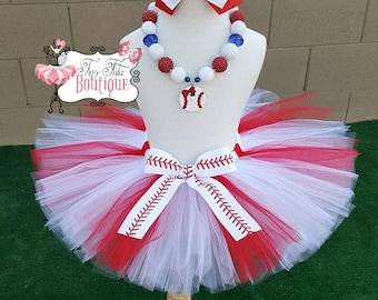 BASEBALL PRINCESS- Red and white baseball tutu with hairbow:  Newborn-5T