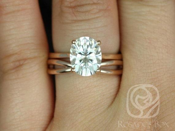 Rosados Box Skinny Lois 10x8mm & PLAIN Skinny Lima 14kt Rose Gold Oval F1- Moissanite Tulip Cathedral Wedding Set
