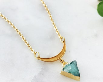 Petite Green Agate Druzy Triangle Necklace