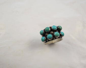 Sterling 2 Row Turquoise Cabochon Wide Cigar Band Ring