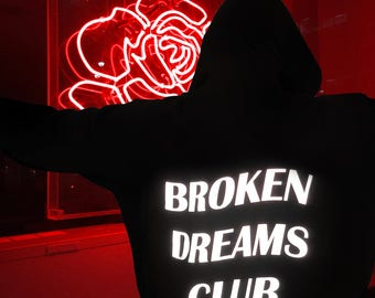 Broken Dreams Club Reflective Hoodie Black Tumblr Inspired Aesthetic Anti Social Pale Pastel Grunge Aesthetics