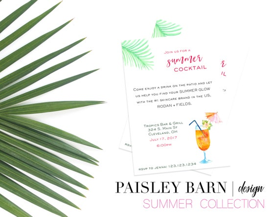 Tropical Cocktail Invite | Printable Digital File | Skincare, Printed, BBL, Happy Hour, girls night, invitation, cocktail, shop, summer
