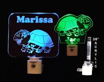 Personalized Turtle LED Night Light,  Kids Lamp, Handmade,