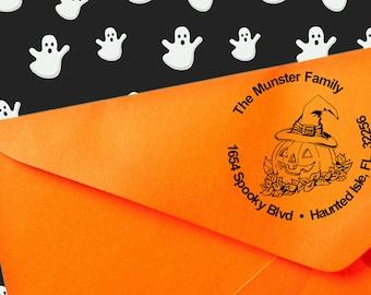 Custom Jack O' Lantern Witch Stamp, Halloween Address Stamp, Custom Halloween Address Stamp