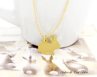 Bunny Necklace, Rabbit Necklace, Matt Gold Bunny Necklace, Matt Gold Rabbit Necklace, Bunny Jewelry, Rabbit Jewelry, Bunny / Rabbit Charm