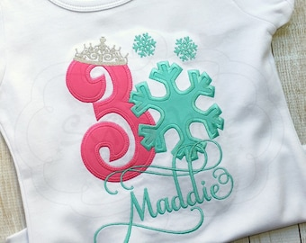 Snowflake Princess | Frozen Birthday | Shirt or Bodysuit | Appliquéd & Embroidered | Personalized | By Sixpence