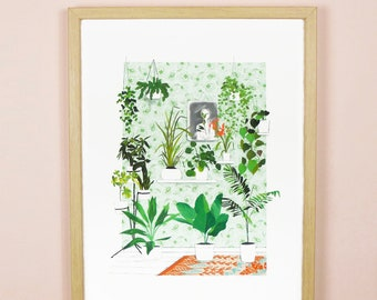 Girl in the mirror - Greener Everyday - illustration printed on Fine art paper by AkabéParis