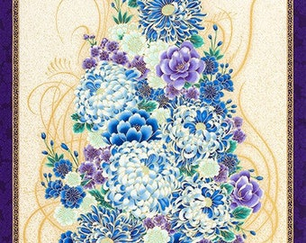 "Floral Bouquet: Imperial 13 Purple Asian Japanese Fabric (Panel 24"" x 44"") by Kaufman"