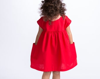 Red Pocket Dress, Girls Christmas outfit,  Red Linen Sundress, Dress with Pockets, First Birthday Outfit, Toddler Red Cotton, Girls Dress,