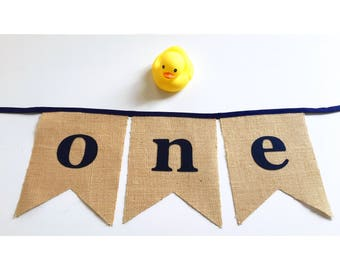 Double pointed 'one' burlap hessian bunting banner flags