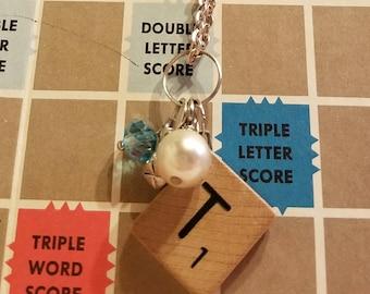 Scrabble tile T necklace