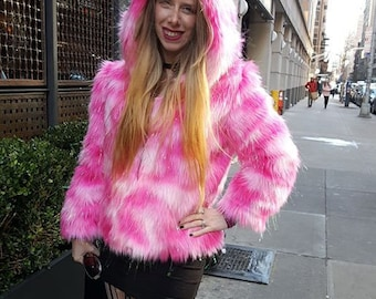 Pink Ombre tinsel faux fur hooded jacket