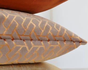 Copper Velvet  Pillow Cover,Copper Pillow Cover,Taupe Velvet Pillow Cover, Mink Velvet Pillow Cover,Geometric Velvet Pillow Cover