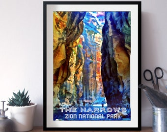 8x10 Narrows Zion National Park WPA Style Print
